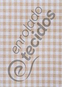 Tecido Jacquard Fio Tinto Xadrez Bege e Branco 2,80m de Largura