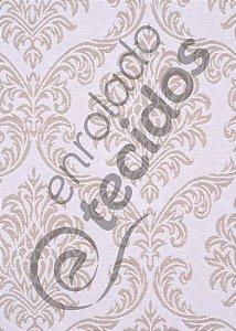 Tecido Jacquard Fio Tinto Medalhão Bege e Branco 2,80m de Largura