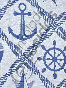 Tecido Jacquard Fio Tinto Coleção Náutica Azul Royal e Branco 2,80m de Largura