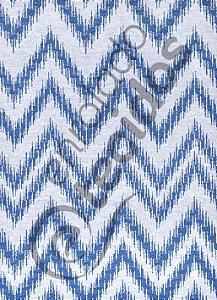 Tecido Jacquard Fio Tinto Chevron Azul Royal e Branco 2,80m de Largura