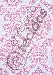 Tecido Jacquard Fio Tinto Medalhão Rosa Bebê e Branco 2,80m de Largura