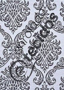 Tecido Jacquard Fio Tinto Medalhão Preto e Branco 2,80m de Largura