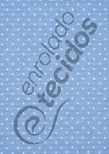 Tecido Jacquard Fio Tinto Poá Azul Bebê e Branco 2,80m de Largura
