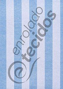 Tecido Jacquard Fio Tinto Listrado Azul Bebê e Branco 2,80m de Largura