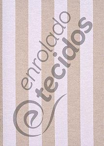 Tecido Jacquard Fio Tinto Listrado Bege e Branco 2,80m de Largura