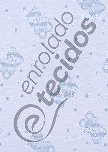 Tecido Jacquard Fio Tinto Ursinho Baby Azul Bebê e Branco 2,80m de Largura