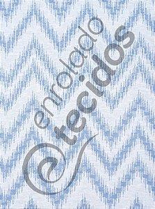 Tecido Jacquard Fio Tinto Chevron Azul Bebê e Branco 2,80m de Largura