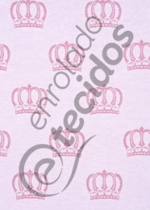 Tecido Jacquard Fio Tinto Coroa Rosa Bebê e Branco 2,80m de Largura