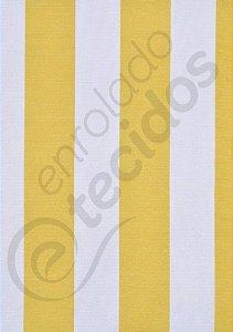 Tecido Gorgurinho Listrado Amarelo e Branco 1,50m de Largura