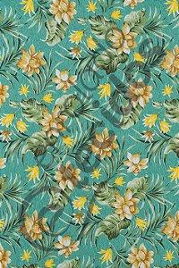 Tecido D'Acqua Impermeável Floral Azul Turquesa 1,40m de Largura