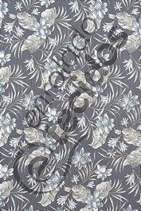 Tecido D'Acqua Impermeável Floral Cinza 1,40m de Largura