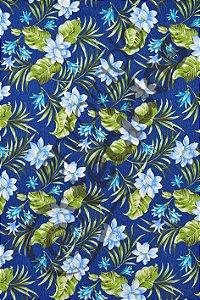 Tecido D'Acqua Impermeável Floral Azul Royal 1,40m de Largura
