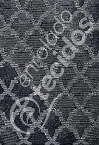 Tecido Jacquard Fio Brilhante Geométrico Cinza 2,80m de Largura