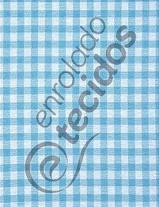 Tecido Jacquard Fio Tinto Xadrez Azul Turquesa e Branco 2,80m de Largura