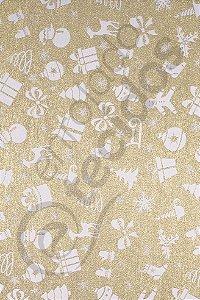 Tecido Jacquard Fio Tinto Natalino Dourado e Branco 2,80m de Largura