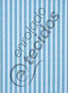 Tecido Jacquard Fio Tinto Listrado Estreito Azul Turquesa e Branco 2,80m de Largura