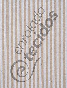 Tecido Jacquard Fio Tinto Listrado Estreito Bege e Branco 2,80m de Largura