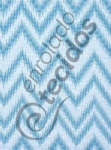 Tecido Jacquard Fio Tinto Chevron Azul Turquesa e Branco 2,80m de Largura