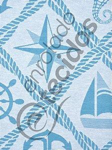 Tecido Jacquard Fio Tinto Coleção Náutica Azul Turquesa e Branco 2,80m de Largura