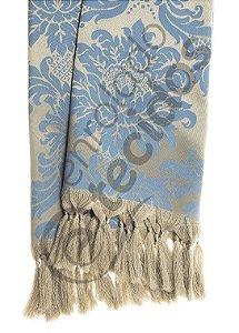 Manta para Sofá em Tecido Jacquard Azul e Dourado 1,80m X 1,40m