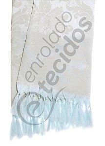 Manta para Sofá em Tecido Jacquard Bege e Prata Azulado 1,80m X 1,40m