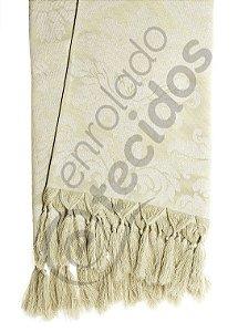 Manta para Sofá em Tecido Jacquard Bege 1,80m X 1,40m