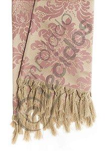 Manta para Sofá em Tecido Jacquard Rosa Envelhecido e Dourado 1,80m X 1,40m
