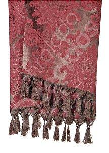 Manta para Sofá em Tecido Jacquard Marrom e Vermelho 1,80m X 1,40m