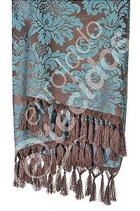 Manta para Sofá em Tecido Jacquard Marrom e Azul Turquesa 1,80m X 1,40m