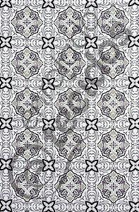 Tecido Jacquard Estampado Azulejo Português Cinza 1,40m de Largura