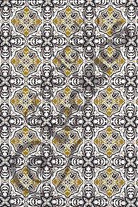 Tecido Jacquard Estampado Azulejo Português Dourado 1,40m de Largura