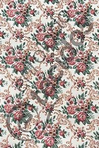 Tecido Gorgurinho Floral Vintage Rosa Envelhecido 1,50m de Largura