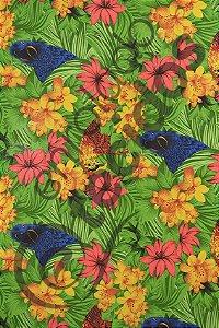Tecido Gorgurinho Floral Arara Azul 1,50m de Largura