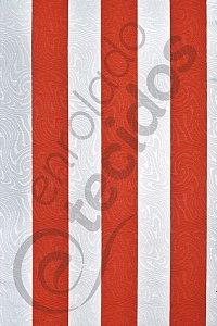 Tecido Jacquard Estampado Listrado Vermelho Alaranjado e Branco 1,40m de Largura