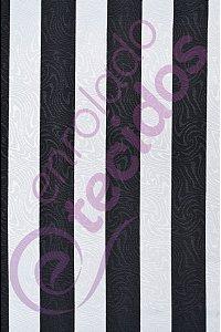 Tecido Jacquard Estampado Listrado Preto e Branco 1,40m de Largura