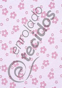 Tecido Jacquard Fio Tinto Florzinha Baby Rosa Bebê e Branco 2,80m de Largura