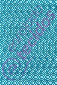 Tecido Jacquard Estampado Arabesco Azul Turquesa 1,40m de Largura