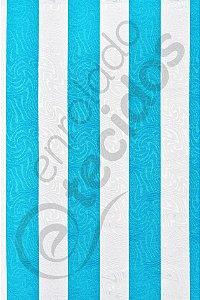 Tecido Jacquard Estampado Listrado Azul Turquesa e Branco 1,40m de Largura