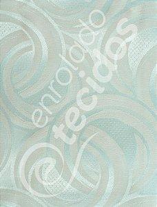 Tecido Jacquard Bege e Prata Azulado Argolas 2,80m de Largura