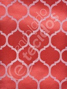 Tecido Jacquard Vermelho e Branco Geométrico 2,80m de Largura