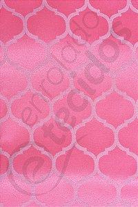 Tecido Jacquard Rosa Pink Chiclete Geométrico 2,80m de Largura