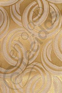 Tecido Jacquard Dourado Argolas 2,80m de Largura