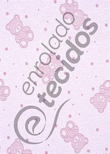 Tecido Jacquard Fio Tinto Ursinho Baby Rosa Bebê e Branco 2,80m de Largura