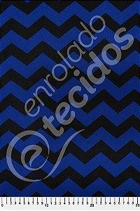Tecido Viscose Estampado Chevron Azul e Preto 1,40m de Largura