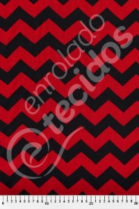 Tecido Viscose Estampado Chevron Vermelho e Preto 1,40m de Largura