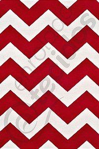 Tecido Gorgurinho Chevron Vermelho e Branco 1,50m de Largura
