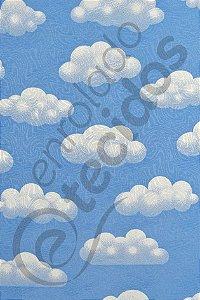 Tecido Jacquard Estampado Céu Nuvem Azul 1,40m de Largura