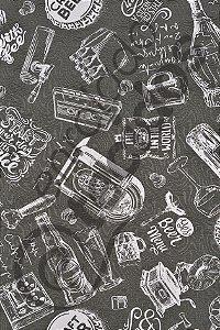 Tecido Jacquard Estampado Vintage Cinza 1,40m de Largura