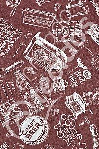 Tecido Jacquard Estampado Vintage Vinho 1,40m de Largura
