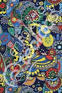 Tecido Jacquard Estampado Abstrato Floral Fundo Azul 1,40m de Largura